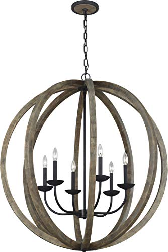 - Feiss F3186/6WOW/AF Allier Round Candle Chandelier Lighting, Brown, 6-Light (38