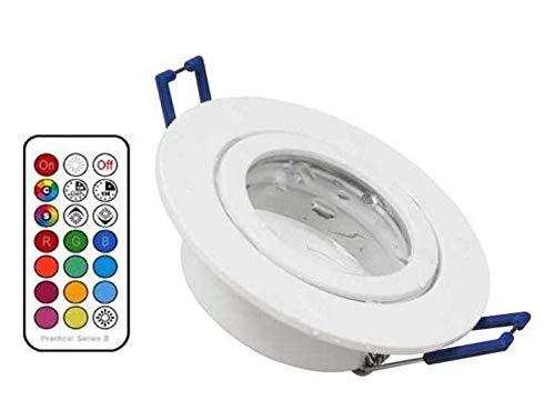 5 x Led Feuchtraum Einbaustrahler weiß + RGB Led + kaltweiß dimmbar mit Timer, memorie Funktion und Fernbedienung 230V