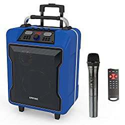 """EARISE M60 Portable PA System Work with Bluetooth, DJ Karaoke Amplified Loudspeaker with Wireless Microphone, 10"""" Subwoofer, Remote Control, Aux Input, Telescoping Handle, USB Charging & Wheels, Blue"""