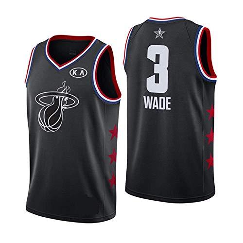 Men's Basketball Jerseys -Summer Basketball T-Shirt NBA Heat 3# Wade Fan Edition Jersey Classic Embroidered Sleeveless Vests,Black,S