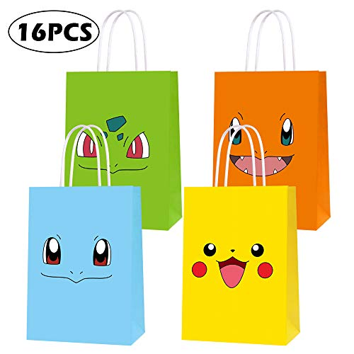 Pokemon Birthday Party Favors (Game Theme Birthday Party Paper Gift Bags for Pokemon Party Supplies Birthday Party Decorations - Party Favor Goody Treat Candy Bags for Nintendo Game Kids Adults Birthday Party Decor- 16)