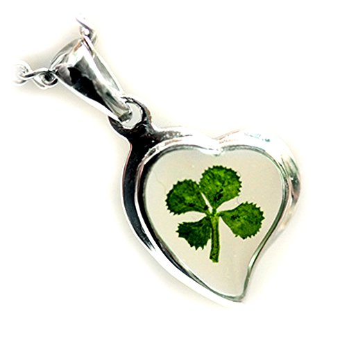 4 Four Sterling Silver Charm - REAL CLOVER 4-LEAF SHAMROCK HEART GOOD LUCK CHARM PENDANT STERLING 925 SILVER CHAIN NECKLACE