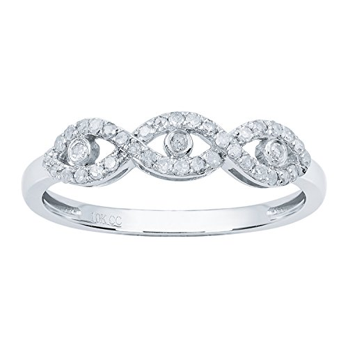 10k White Gold Three-Stone Infinity Diamond Band (1/4 cttw, I-J Color, I2-I3 (Antique Style Diamond Band Ring)