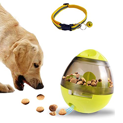 Dream-C Pet Food Ball and Reflective Nylon Collar with Bell, Dispensing Leakage Slow Feeder Chew Toys, Yellow Adjustable Kitten Puppy Collar Strip 7''-11'' for Dogs Puppy & Cats ()