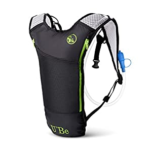 U'Be Hydration Pack for Biking Running Hiking Cycling - Compact Marathon Backpack Camel Pack with 2L Water Bladder for Outdoor Sports