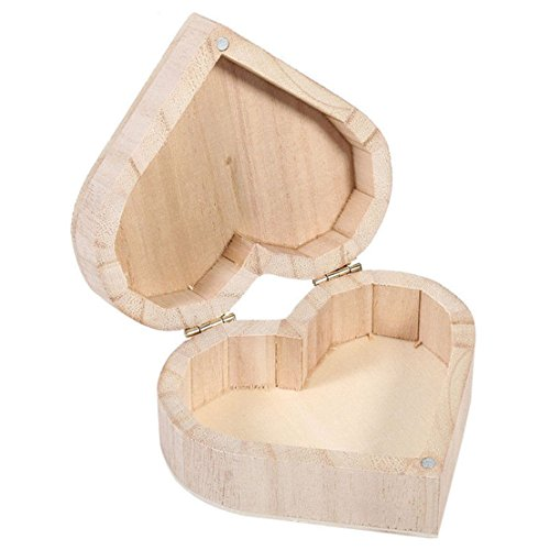 MAXGOODS Pack of 2 Wood Jewelry Box Heart Shape Storage Organizer Gift Box DIY Crafts,Magnetic Closure