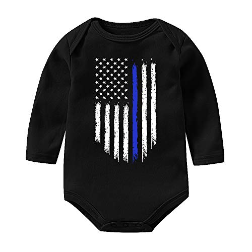 Thin Blue Line USA Flag Funny Unisex Baby Bodysuits Long Sleeve Onesies Romper Outfits Jumpsuit ()