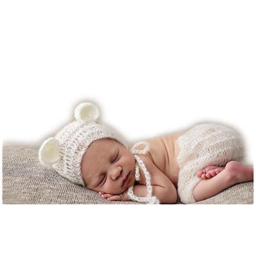 Luxury Stretch Newborn Boy Girl Baby Outfits Costume Photography Props Bear Hat -
