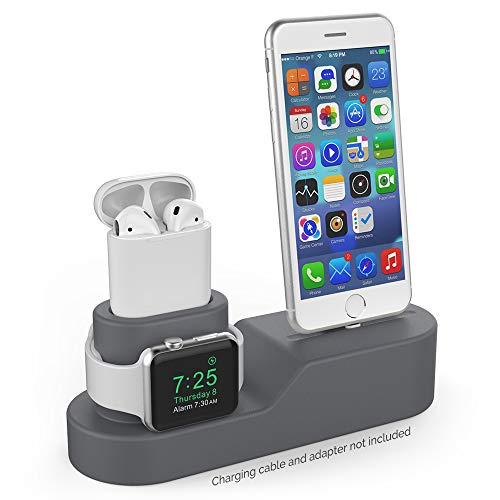 (AHASTYLE 3 in 1 Charging Stand Silicone Compatible with Apple Watch, AirPods and iPhone Xs/Xs Max/Xr/ 8/8 Plus【iPhone Original Cables Required-NOT Included】(Dark Gray))