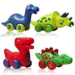 3 Bees & Me Dinosaur Toys for Boys and Girls Toddlers and Older Kids - Set of 4 Toy Car Dinosaurs