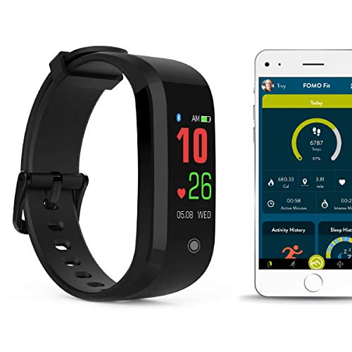 FOMO Fit 2019 Fitness Tracker Designed in California. Automatically Track Your Heart Rate, Fitness, and Sleep. Beautiful Mobile app, Color Screen and USB Charging. (Best Mobile In 2019 Under 20000)