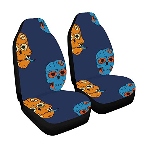 INTERESTPRINT Smoking Robot Skull Car Seat Covers for Car, Truck & SUV (Set of 2)