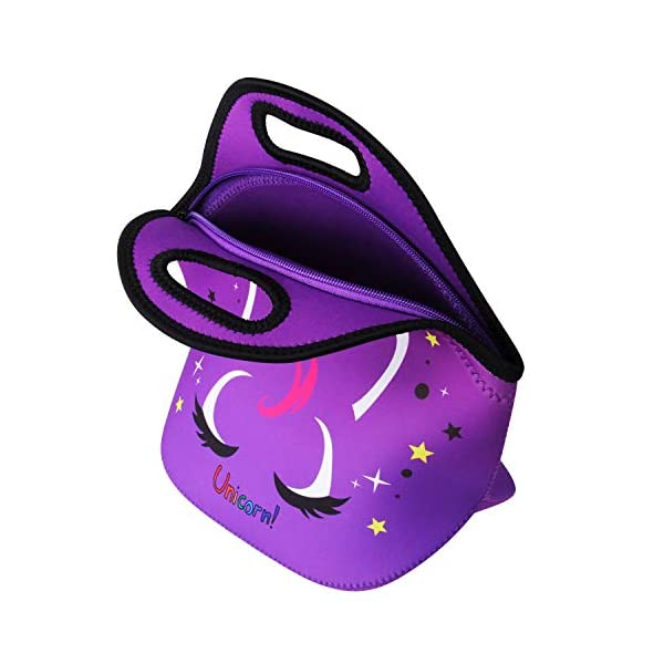 Cute Unicorn Lunch Bag for Kids, Waterproof Insulated Neoprene Lunch Tote with Zipper for School Work Outdoor (Purple002… 12