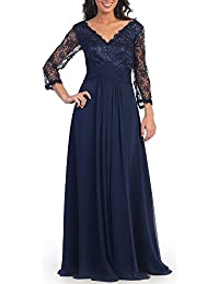 Mother of The Bride Dresses V-Neck Long Sleeves Formal Evening Gowns
