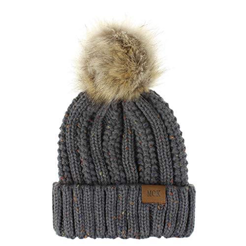 Lenfesh Nuevo Multicolor Mujeres Niñas Color sólido Mantener abrigado Invierno Casual Peluche Sombrero de Punto Sombrero…