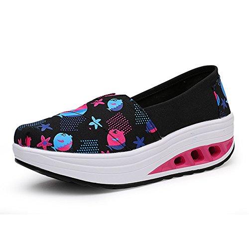 Plataforma de Zapatos de Mujer Primavera Verano Otoño Comfort Soles de luz Sneakers Zapatos de Lona de Las señoras Zapatos Slip On Shake Tacón bajo para Punta Redonda (Color : D, tamaño : 39)