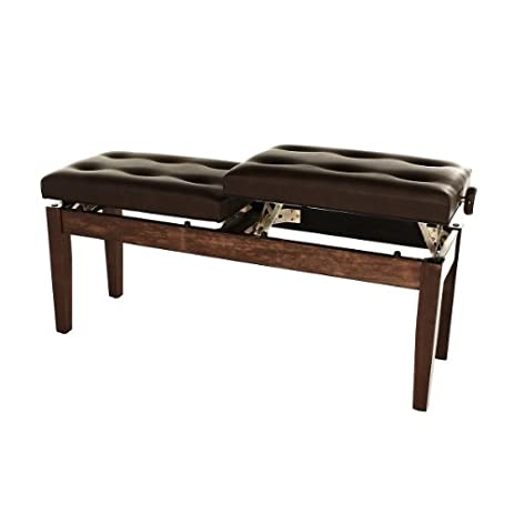 Duet Piano Bench With Cushioned Seat And Adjustable Height   Polished  Mahogany