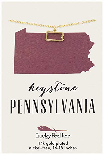 "Lucky Feather Pennsylvania Shaped State Necklace, 14K Gold-Dipped Pendant on Adjustable 16""-18"" Chain"