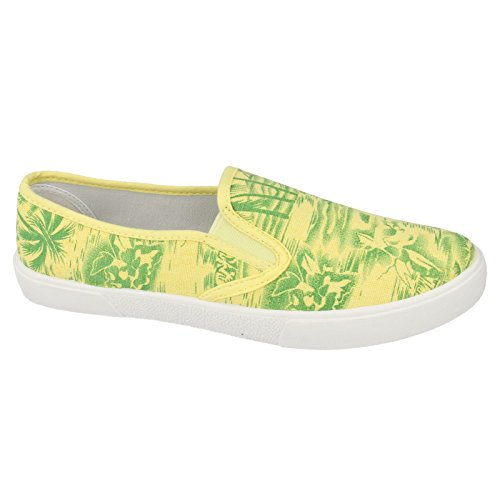Tropicali Spot Verde Giallo Scarpe Palme in Fantasia Tela Donna On gwgqrnWf