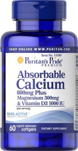 Puritan's Pride Absorbable Calcium 600mg plus Magnesium 300mg & Vitamin D 1000iu-60 Softgels
