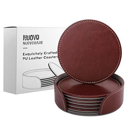 (Nuovoware Coasters, [6-PACK] Premium PU Leather Coasters, Drink Round Coasters with Holder Sets, Protect Your Furniture from Stains, Water Marks, Scratch, Brown)