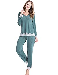 Women'S Knit Long-Sleeves Pajamas Polka Dot Sleepwear Sets With Lace Attaching
