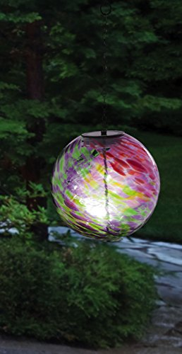 Evergreen Enterprises Hanging Solar Gazing Ball  Outdoor Decor, (Glowing Glass Ball)