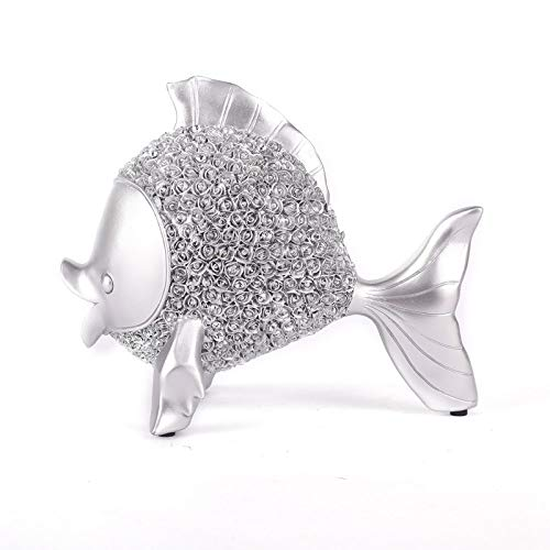 Statues Figurines And Sculptures For Home Decor, Modern Abstract Art Funny Fish Decorative Artwork Indoor Ornaments For Living Room Bedroom Office Table,Silver (Fish Abstract Sculpture)
