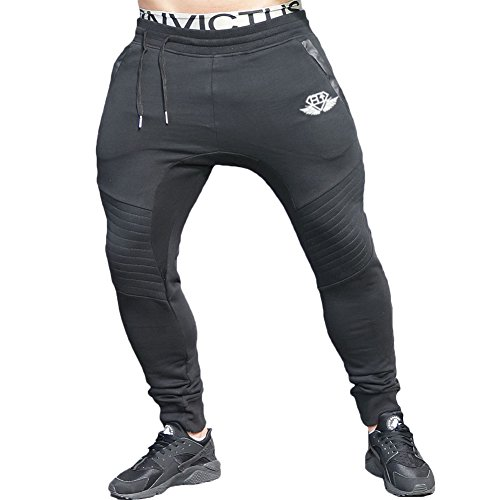 EU Men's Joggers Pants Gym Workout Pant Running Trousers with Pockes Large Black