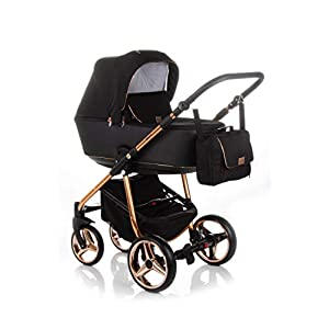 Baby Pram Pushchair Buggy Car Seat Adamex Reggio Special + XXL Accessories Set (Y-302 Schwarz-Rose Gold, 2n1)