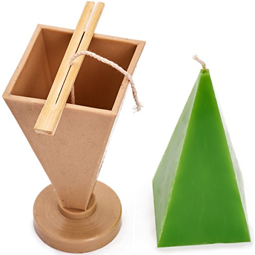 Pyramid mold - height: 6.3 in, width: 2.7 in - 30 ft. of wick included as a gift - Plastic candle molds for making candles (Candle Wax Embeds)