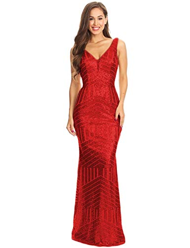 NOVIA Women's V Neck Long Sequins Celebrity Party Dresses Maxi Wedding Formal Party Gowns Red 16W