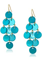 Kenneth Cole New York Teal Shell Circle Bead Chandelier Drop Earrings