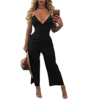 Womens Sexy Halter Backless Deep V Sleeveless Long Jumpsuits Rompers with Pocket