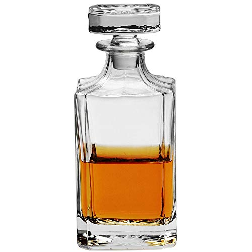 Typical Classic Decanter - Crystal Liquor Decanter with Square Stopper - Whiskey Decanter for Wine, Bourbon, Brandy, and Liquor 750ml -