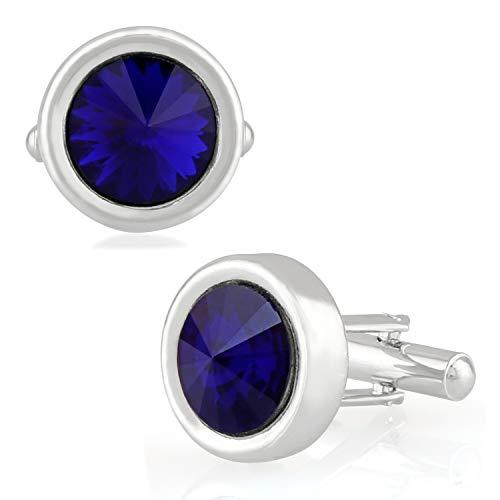 Mahi Rhodium Plated Royal Blue Solitaire Crystal Cufflink for mens and boys - Crystal Cufflinks Royal Blue