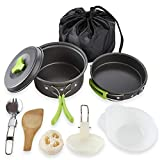Nochim Camping Cookware Set 8 Pieces Portable Anodized Aluminum Pot Pan Set Backpacking Hiking Folding Lightweight Cook Set Non-Stick