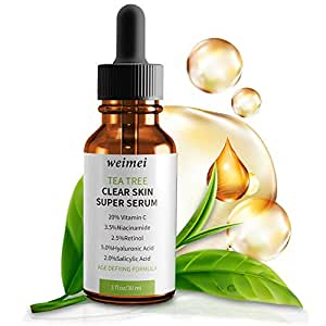 Aceite esencial para árbol de té, árbol de té, suero facial con 20% de vitamina C, retinol ácido hialurónico y ácido salicílico: Amazon.es: Belleza