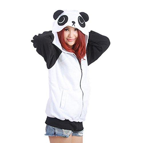 Ali G Fancy Dress Costume (Datangep Cute Panda Hoodies Cosplay Costume Ears Zip Hooded Sweatshirt Jacket L)