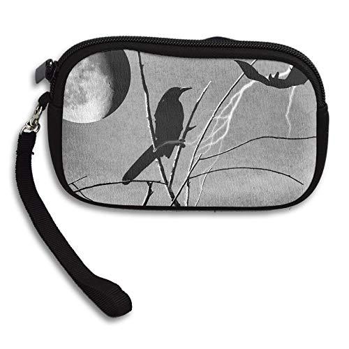 Hand-held Belt Zipper Small Wallet Raven And Bat Purse Porte-monnaie Cards Holder Wallet -