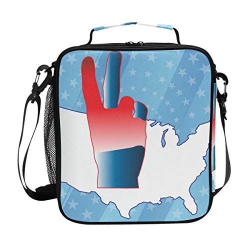 FAJRO USA Map With Victory Gesture Lunch Tote Bag Insulated Thermal Cooler Lunch Bag ()