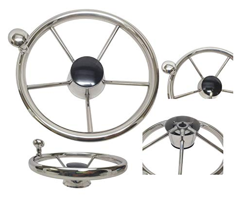 Pactrade Marine 5 Spoke Stainless Steel Steering Wheel with Turning Knob, 11' L