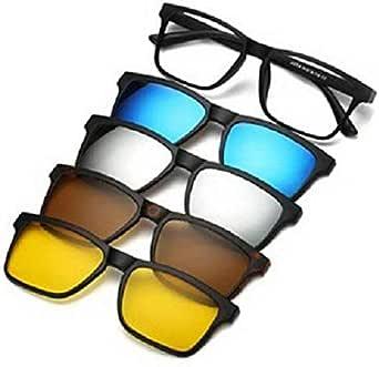 نظارات للجنسين مصنوعة من الإطار الأساسي مع أربع إطارات إضافية ممغنطة بألوان مختلفة تستقطب العدسات الشمسية داخل الحقيبة الجلدية
