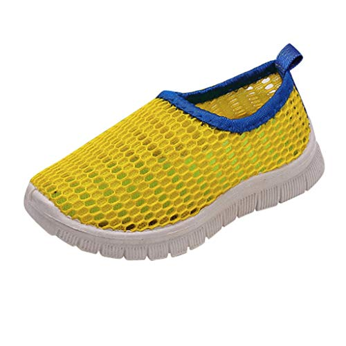 ♡QueenBB♡ Kids Shoes Boys Girls Breathable Mesh Shoes Sneakers Quick Dry Water Shoes Lightweight Slip-On for Running Walking Yellow -