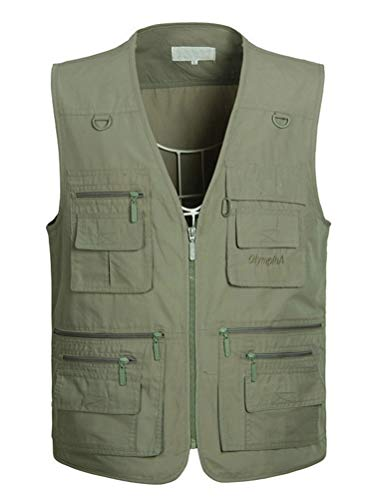 Waistcoats Designer - PASOK Men's Work Fishing Vests Lightweight Safari Travel Hunting Waistcoat with Multi-Pockets Color 4 M