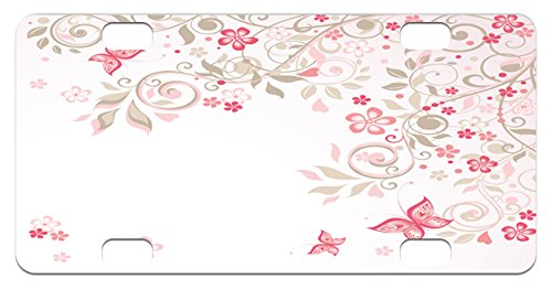 Pink Cocoa Dot (Floral Mini License Plate by Lunarable, Curly Branches Wildflowers Butterflies Dots Romantic Bridal Wedding Theme, High Gloss Aluminum Novelty Plate, 2.94 L x 5.88 W Inches, Pink Cocoa Pale Pink)