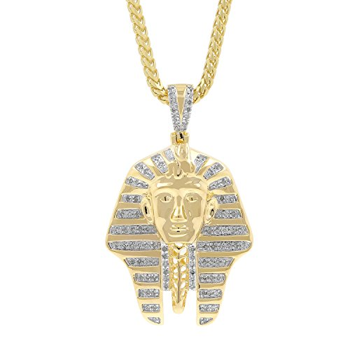 0.32ct Diamond Pharaoh Head Mens Hip Hop Pendant Necklace in Yellow Gold Over 925 Silver (I-J, I1-I2) by Isha Luxe-Hip Hop Bling