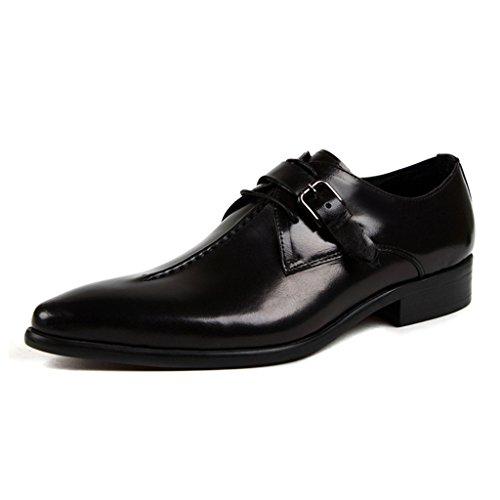 Zapatos Clásicos de Piel para Hombre Zapatos de cuero para hombres Transpirable Negocios Ropa formal Puntiagudos ( Color : Red-brown , Tamaño : EU45/UK9 ) Negro