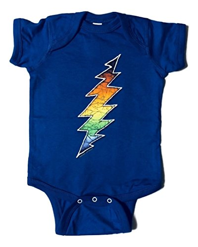 (Licensed Grateful Dead Bolt Blue One Piece Romper by Dye The Sky (6 Months))