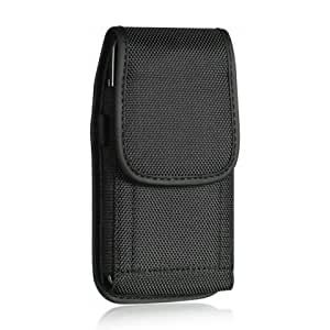 Luxmo Eva Style Heavy Duty Rugged Pouch Holster Belt Clip Carrying Case for HTC M7 - Retail Packaging - Black
